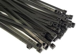 Black Wire Cable Zip Ties Nylon Uv Weather Resistant Usa 50lb Test Qty 100