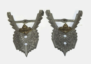 Lot Of 2 Matching Antique Art Deco Sconce Chandelier Slip Shade Light Fixtures