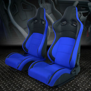 Left Right Black Blue Fabric Full Reclinable Sport Racing Seats Universal Slider