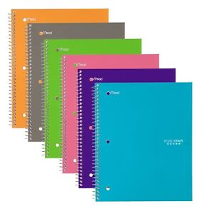 Five Star Spiral Notebooks 1 Subject Wide Ruled Paper 100 Sheets 10 1 New