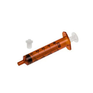 Bd Oral Syringe 5cc 5ml Amber With Cap No Needle Case 500