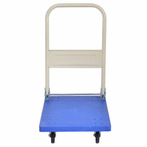 220 Lbs Folding Platform Push Pull Handle Cart Luggage Dolly Plastic Hand Truck