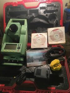 Leica Tcr407 Reflectorless Total Station Transit Level W Battery And Data Cable