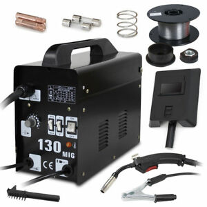 Mig 130 Welder Gas Less Flux Core Wire Automatic Feed Welding Machine W Mask