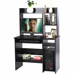 Computer Desk Workstation Organizer Hutch Storage Shelves Keyboard Tray Black