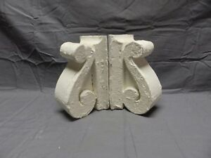Antique Pair Wood Small Corbels Gingerbread Shabby Architectural Chic 395 18p