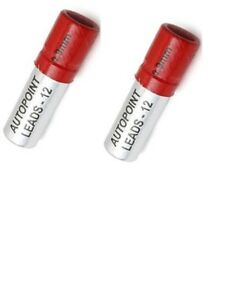2 Tubes Autopoint Pencil Lead Refills 0 9mm Red 24 Sticks