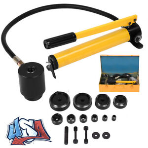 15 Ton 16 101mm Hydraulic Knockout Punch Driver Kit 10 Dies Hole Case Us