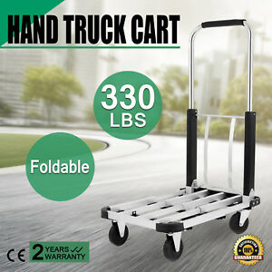 330lbs Aluminum Foldable Platform Hand Truck Cart Folding Extendible Trolley