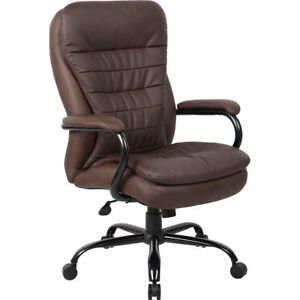 Express brown Pu Leather Executive Office Chair With Padded Arm Rest bifma