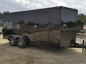 7x16 7 X 16 Enclosed Trailer Cargo Blackout V nose Ramp 14 Utility 18 In Stock