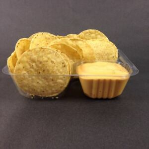 500 Count Disposable Nacho Trays Clear 2 Compartment Small 6 X 5 X 1 2
