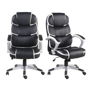 Ergonomic Pu Leather High back Executive Computer Desk Task Office Chair Black