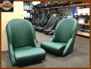 Pair Bb Vintage Classic Car Bucket Seats Rounded Backs British Racing Green