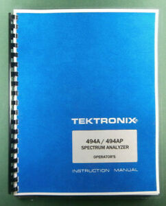 Tektronix 494a 494ap Operator s Manual Comb Bound Protective Plastic Covers