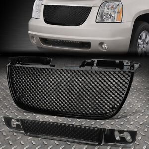 For 07 14 Gmc Yukon Xl Black Front Bumper Upper lower Diamond Mesh Grille Guard