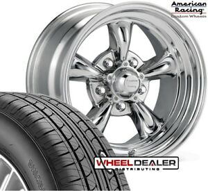 15x7 15x8 Polished Torque Thrust Wheel Tire Package Mustang 1965 1966 1967 1968