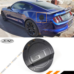For 15 21 Ford Mustang 3d Gt Carbon Fiber Texture Add on Gas Fuel Door Cover Cap