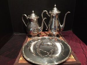 Vintage Set 1940s International Silver Camille Coffee Tea Pot Small Platter
