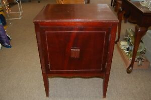 Mahogany Look Vintage Record Cabinet With Door From An Estate