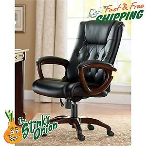 Heavy Duty Leather Office Rolling Chair High Back Tufted Executive Work