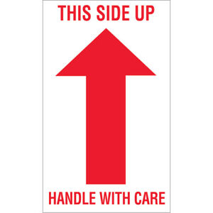 Tape Logic Labels this Side Up Handle With Care 3 X 5 Red white 500 roll
