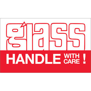 Tape Logic Labels glass Handle With Care 3 X 5 Red white 500 roll Dl1170