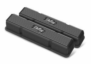 Holley 241 245 Sb Chevy Black Vintage Finned Aluminum Valve Covers W Out Holes