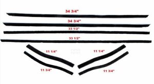 1965 66 Mustang Coupe convertible Window Felt Weatherstrip Kit 8 Piece Kit