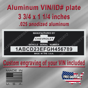 Classic Chevrolet Vin Data Plate With Custom Engraving Included Free Shipping