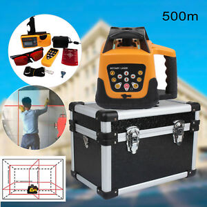 500m Range Automatic Red Beam Self leveling Rotary Laser Level Remote Control