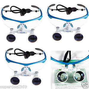 3pcs Dental Surgical Binocular 3 5x 420mm Loupes Optical Glasses Medical Blue Ce