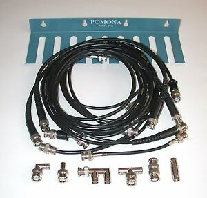Lot Of 16 Bnc Cables And Connectors With Pomona Test Lead Holder