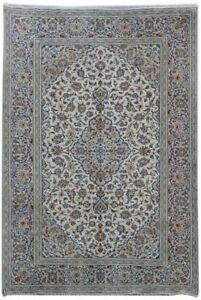 Kashan Signed Rug Oriental Rugs Hand Knotted Ivory 8x12 Persian Rug