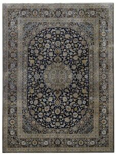 Persian Rug Hand Knotted 10x14 Kashan Signed Persian Rugs Navy Blue Rug