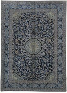 Handmade Navy Blue 10 X 14 Persian Kashan Signed Rug
