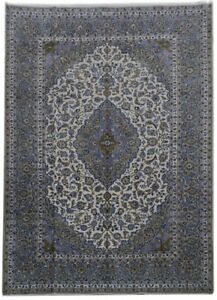 10x14 Persian Kashan Signed Rug Discounted Decor Rugs Hand Knotted Ivory Rug