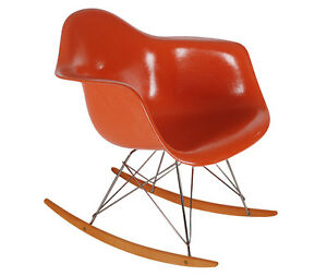 Orange Herman Miller Eames Fiberglass Lounge Rocking Chair Mid Century Modern