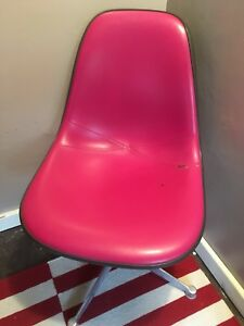 Eames Herman Miller Upholstered Fiberglass Shell Chair Rare Hot Pink Naugahyde