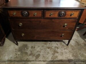Federal Furniture Factory Dark Walnut Antique Wooden Dresser