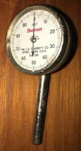 Starrett Back plunger Dial Indicator No 196 001 Grads 0 100 Dial Reading