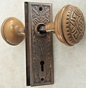 Antique Vintage Set Of Brass Door Knobs With Backplates 625 Nice Free Shipping
