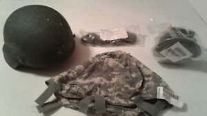 MSA BALLISTIC COMBAT HELMET SIZE LARGE WNEW PADS NEW CHINSTRAP AND ACU COVER US