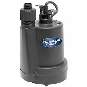 Superior Pump 1 4 Hp Thermoplastic Submersible Utility Pump 91250 3dayship