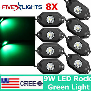 8pcs 9w Led Rock Light Red Trailer Off road 4x4wd Atv Under Body Trail Rig Light