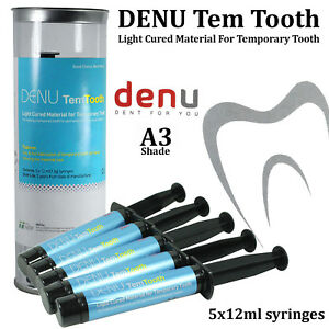 Denu Temtooth Dental Temporary Tooth Teeth Light Curing Crown A3 12ml X 5