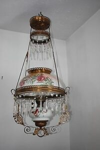 Antique Victorian Drop Down Oil Lamp Chandelier Porcelain Globe Crystals
