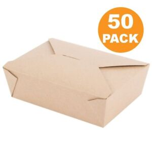 Disposable Paper Take Out Food Containers 50 Ct Restaurant To Go Boxes No Tax