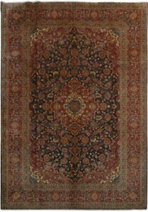 Living Room Hand Knotted Navy Blue 10x14 Persian Kashan Rug