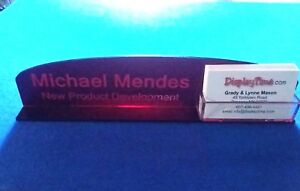 Personalized Acrylic Glass Name Plate Bar Desk Business Card Holder Domed Red